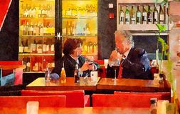 Couple in city cafe. Watercolor style royalty free stock photography