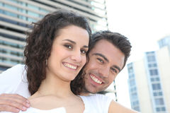 Couple in city centre. Couple enjoying visit to the city centre Royalty Free Stock Images