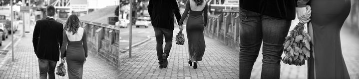 Couple in the city. Love finding itself in the city. The new couple meet and its love at first site Royalty Free Stock Photos