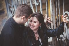 Couple in city stock photos