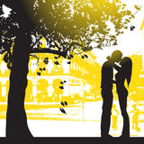 Couple in city park. Couple under the tree in city park Stock Photography