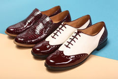 Couple of classic leather shoes. Couple of classic brown leather shoes Royalty Free Stock Images