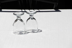 A couple of clean glass on a table Royalty Free Stock Photos