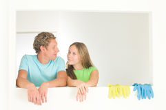 Couple cleaning Stock Images