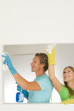 Couple cleaning Stock Photo