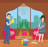 Couple cleaning home Royalty Free Stock Photos