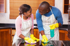 Couple cleaning together Stock Photos