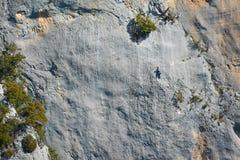 Couple climbing in Verdon Gorge canyon,  Provence. France stock photos