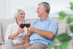 Couple clinking their glasses of red wine Royalty Free Stock Images