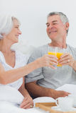 Couple clinking their orange juice glasses Royalty Free Stock Photos