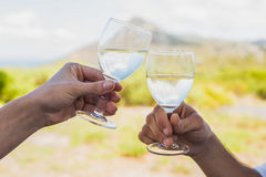 Couple clinking wine glasses outside Stock Image