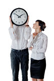 Couple and clock Stock Images