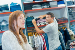 Couple in clothes shop Royalty Free Stock Photo