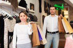 Couple at clothing boutique Royalty Free Stock Photo