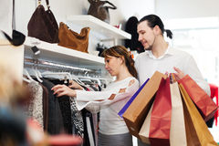 Couple  at clothing shop Royalty Free Stock Photo