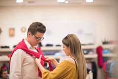 Couple in  Clothing Store Royalty Free Stock Photography