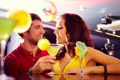 Couple in club at bar Stock Images