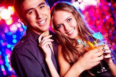 Couple of clubbers Royalty Free Stock Images