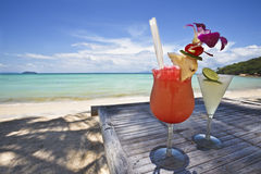 Couple of cocktail at the beach. Royalty Free Stock Image