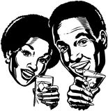 Couple With Cocktails 2 royalty free illustration