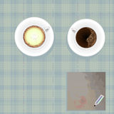 Couple Coffee Cup,paper And Pencil On Blue Grid Background Stock Images
