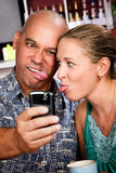 Couple in Coffee House Taking Self-Portrait Stock Photos