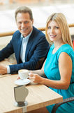 Couple in coffee shop. Royalty Free Stock Image