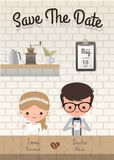Couple coffee wedding save the date invitation card. Romantic date at cafe Stock Photo