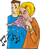 Couple and cold. Cartoon illustration of couple and woman get cold Stock Images