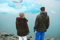 Couple and Cold Iceland Lake Stock Image