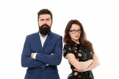 Couple colleagues man with beard and pretty woman on white background. Business partners leadership and cooperation stock image