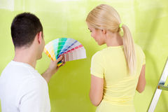 Couple  with color samples to paint Stock Image