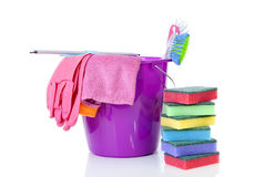 Couple of colorful cleaning equipment over white background Royalty Free Stock Image