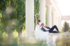Couple in columns Royalty Free Stock Photography