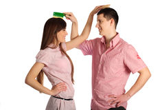Couple comb each others Stock Images