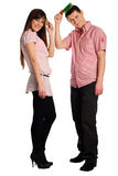 Couple comb oneself Stock Photos