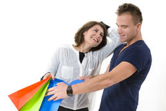 Couple coming from shopping Stock Photos