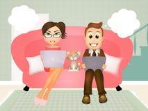 Couple communicates with laptop Royalty Free Stock Image