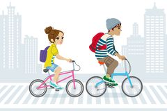 Couple Commute by Bicycle,in City Life Stock Images