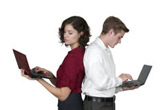 Couple with computer Stock Image