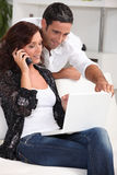 Couple with computer Stock Photo