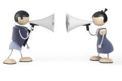 Couple conflict. Couple quarrel, conflict, white background Royalty Free Stock Images