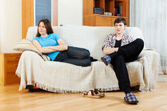 Couple after conflict  in home Royalty Free Stock Photography