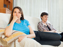 Couple conflict. Sad woman after quarrel Royalty Free Stock Image