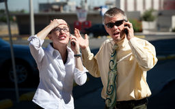 Couple is confused by what they are seeing. Royalty Free Stock Photos