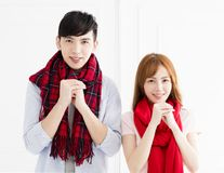 Couple with congratulations gesture for chinese new year royalty free stock image
