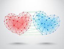 Couple of connected hearts Stock Photography