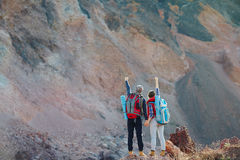 Couple Conquering Mountains Together Royalty Free Stock Image