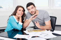 Couple is considering future apartment design Stock Photo