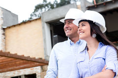 Couple at a construction site Royalty Free Stock Photography